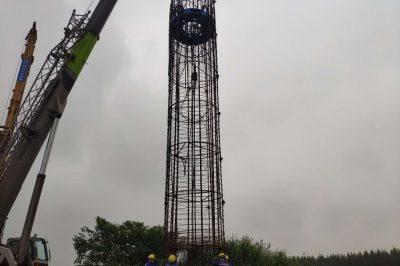 常泰长江大桥工程CT-A4标工程完成2根试桩下钢筋笼/自平衡测试